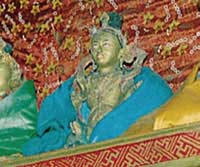 Inside this particular statue of Naropa is the golden Vajradhara statue (Sani Monastery, Zanskar)
