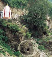 The cave along a river in Mandi, where Naropa met Tilopa, his destined guru