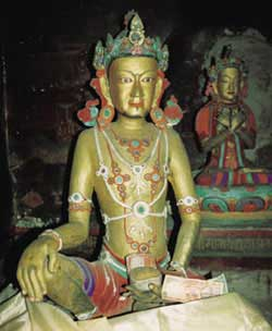 The 'Look-Like-Me' Naropa statue in a cave at Dzongkhul Gompa, Zanskar, depicting Naropa in his younger years